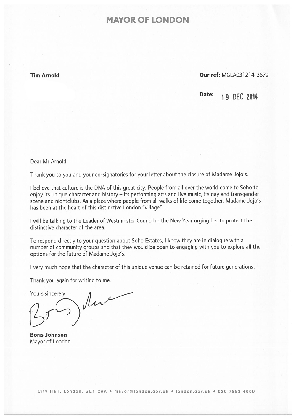 Letter From Boris Johnson  Save Soho